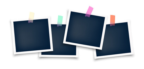 Photo frames mockup glued with color tape . Realistic empty templates. Polaroid mockup