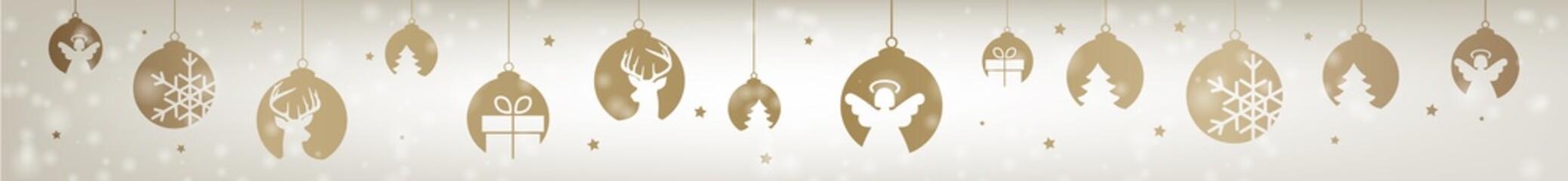 Banner Weihnachten gold Christbaumkugeln Header