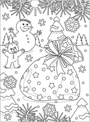 Winter holidays joy themed coloring page with Santa's sack full of presents, snowman, teddy bear, outdoor scene