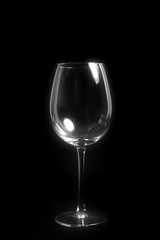 empty wine glass on black background