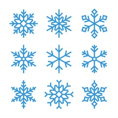 blue outline snowflake icons