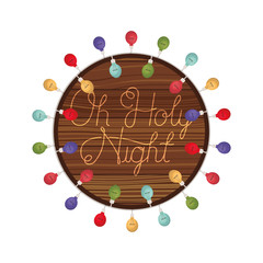 holy night in frame of wooden isolated icon