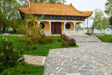 view on front of typical traditional chinese buddhist temple