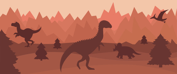 Flat mountain landscape with silhouettes of dinosaurs.