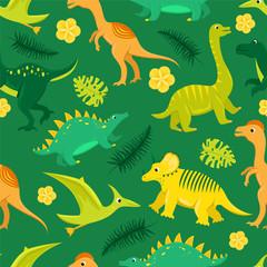 Seamless pattern with flat vector cartoon dinosaurs.
