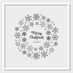 Modern circle greeting card Merry Christmas. Vector illustration with Christmas snowflakes. In the colors black, white and gray.