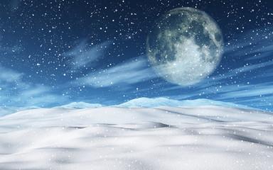 Poster de jardin Aurore polaire 3D snowy Christmas landscape with moon