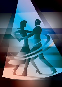 Ballroom, Dancing couple in colorful spot light.