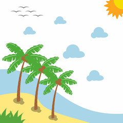 Landscape beautiful beach with Illustration three Palm Trees Stock vector design