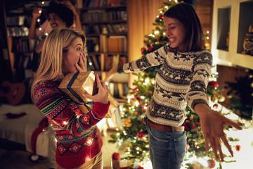 happy females celebrating Christmas together.
