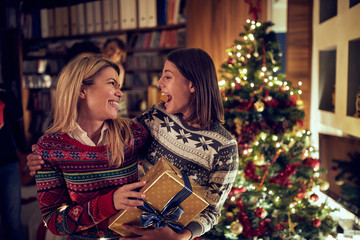 happy woman celebrating Christmas together.