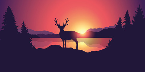 beautiful wildlife landscape with reindeer lake mountains and forest at sunset vector illustration EPS10 Fotomurales