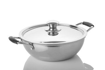 Kitchen: Close up of Stainless Steel Pan with Lid Isolated on White Background Shot in Studio