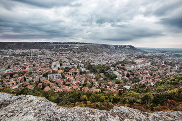Urban City View. View of Provadia City in Bulgaria from Ovech Fortress