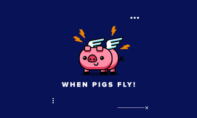 When Pigs Fly Poster Vector Illustration