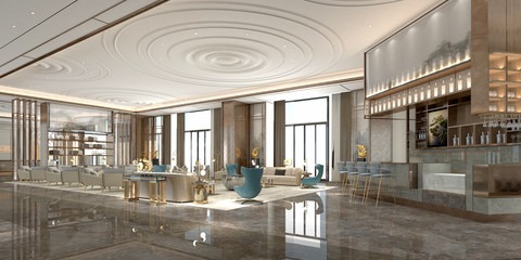 3d render of modern luxury hotel lobby