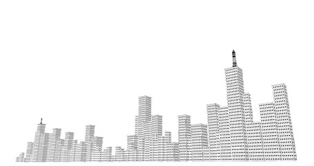Silhouette of skyscrapers on a white background. Sketch line drawing