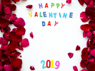 Love Romantic red rose petals Valentines banner frame.