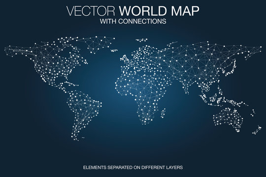 World map network with connections, global communication and business concept, telecommunication technology, internet of things (IoT), web and mobile phone data transfer connected, vector