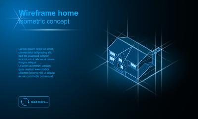Isometric wireframe suburban building vector illustration.