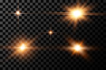 Sunlight special lens flare light effect.Light effect glow. Bright Star. The transparent shining sun, bright flash.