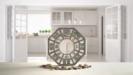 White table shelf with bagua and pebble stone, white scandinavian kitchen with island and big door, zen concept interior design, feng shui template idea background