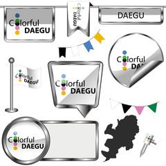 Glossy icons with flag of Daegu, South Korea