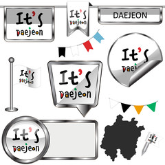 Glossy icons with flag of Daejeon, South Korea