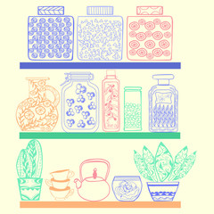 kitchen or pantry shelves with goods