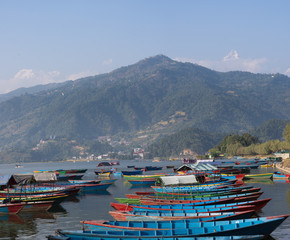 Boats on Phewa lake, Pokhara, Nepal.