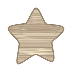star with wooden texture isolated icon