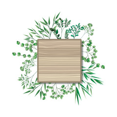 square of wooden with branches and leafs