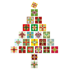 Vector isolated illustration of colorful Christmas tree made from stacks of presents. Great for Christmas projects, marketing, advertising, stationery.