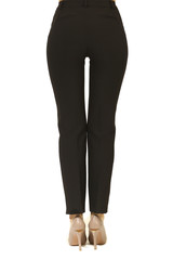 black trousers on model legs