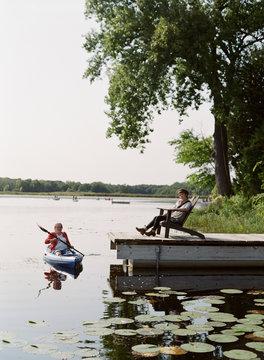 older woman kayaking