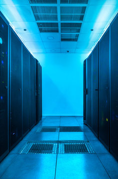 Server room with blue light in a data center