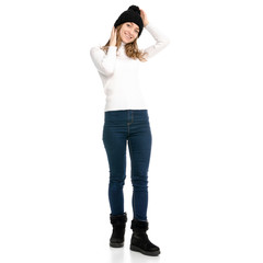 Beautiful woman in sweater jeans hat cold showing of positive emotions smile on white background isolation back view