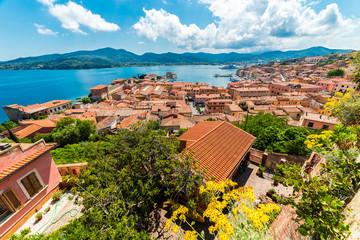 Wall Mural - Panoramic view over Portoferraio town of Elba island, Tuscany region, Italy