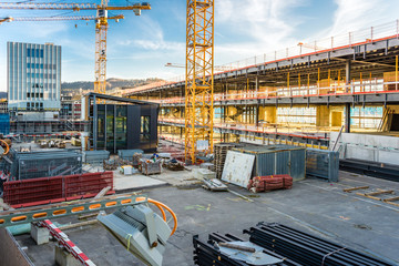 construction site at sunset, switzerland, europe