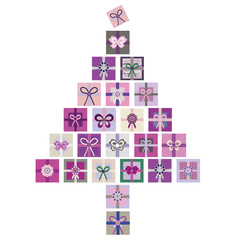 Purple, pink and green vector isolated illustration of Christmas tree made from stacks of presents. Great for Christmas projects, marketing, advertising, stationery