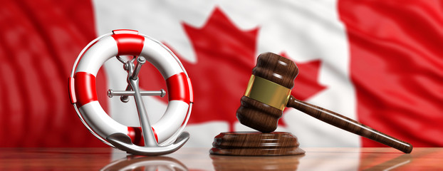 Lifebuoy, ship anchor and justice gavel on Canadian flag background, banner. 3d illustration