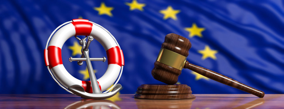 Lifebuoy, ship anchor and law gavel on European Union flag background, banner. 3d illustration