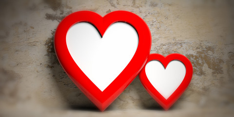 Two red heart shaped empty frames on faded wall background, copy space