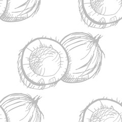 coconut exotic, tropical seamless pattern