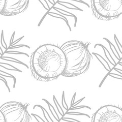 coconut exotic, tropical seamless pattern, leaves