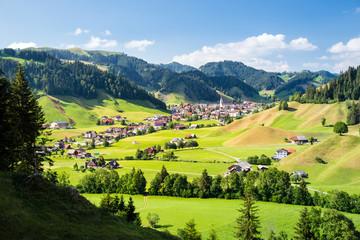 Eschholzmatt, a village in the Entlebuch UNESCO in the canton of Lucerne, Switzerland