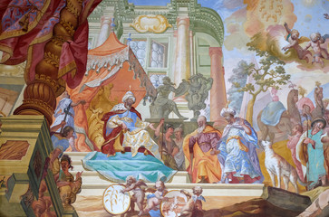 Jacob with his sons before the Pharaoh, ceiling fresco by Johann Adam Remele in Joseph Hall, Cistercian Abbey of Bronbach in Reicholzheim near Wertheim, Germany
