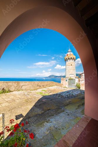 Wall mural Lighthouse of old town Portoferraio, Elba island, Tuscany, Italy