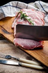 Self adhesive Wall Murals Polar bear fresh meat on a wooden board. Steak, ribs polar bear, heel