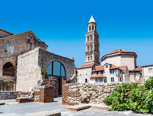 Ancient buildings on the streets of Split in Croatia.